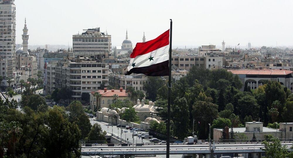 La bandera de Siria en Damasco