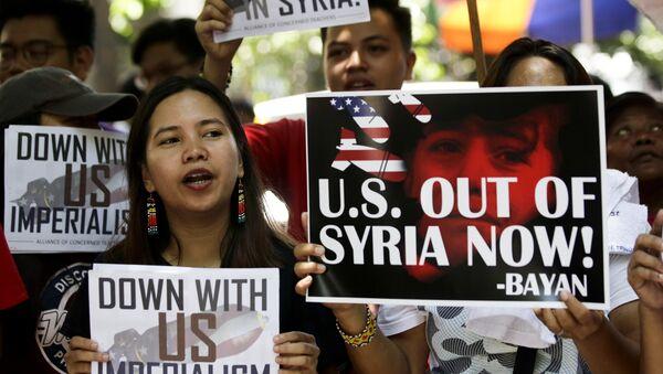 Marcha en contra de los bombardeos de Siria en Manila (Filipinas), 17 de abril de 2018 - Sputnik Mundo