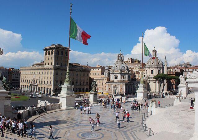La bandera de Italia en Roma