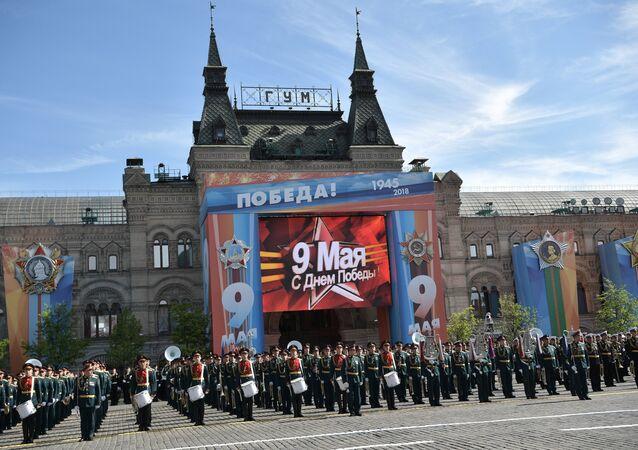 Banda militar durante el Desfile del Día de la Victoria en la Plaza Roja, Moscú, Rusia