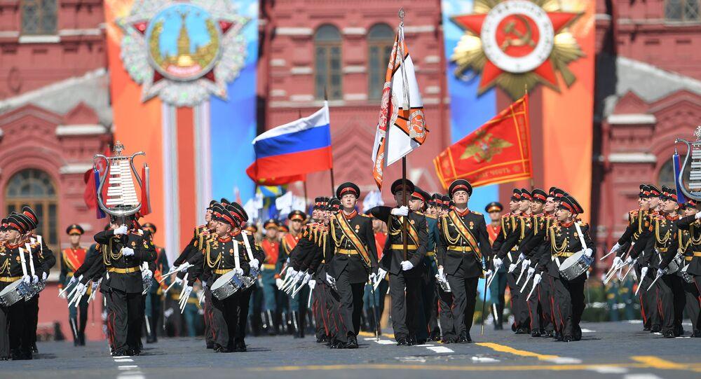 Los músicos del Colegio Militar de Música Jalílov, del Ministerio de Defensa de Rusia, que suelen abrir el Desfile de la Victoria
