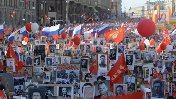 La marcha del Regimiento Inmortal en Moscú (archivo) - Sputnik Mundo