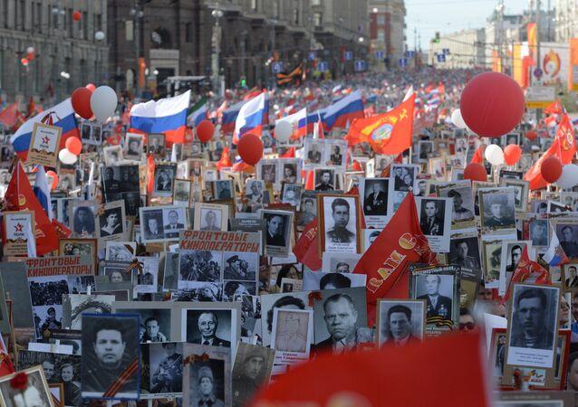 La marcha del Regimiento Inmortal en Moscú (archivo)
