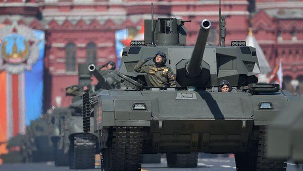 Vehículos blindados T-14 Armata durante el ensayo general del Desfile de la Victoria en la Plaza Roja de Moscú - Sputnik Mundo