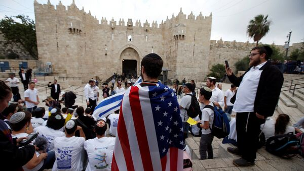 Bandera de EEUU en Jerusalén - Sputnik Mundo