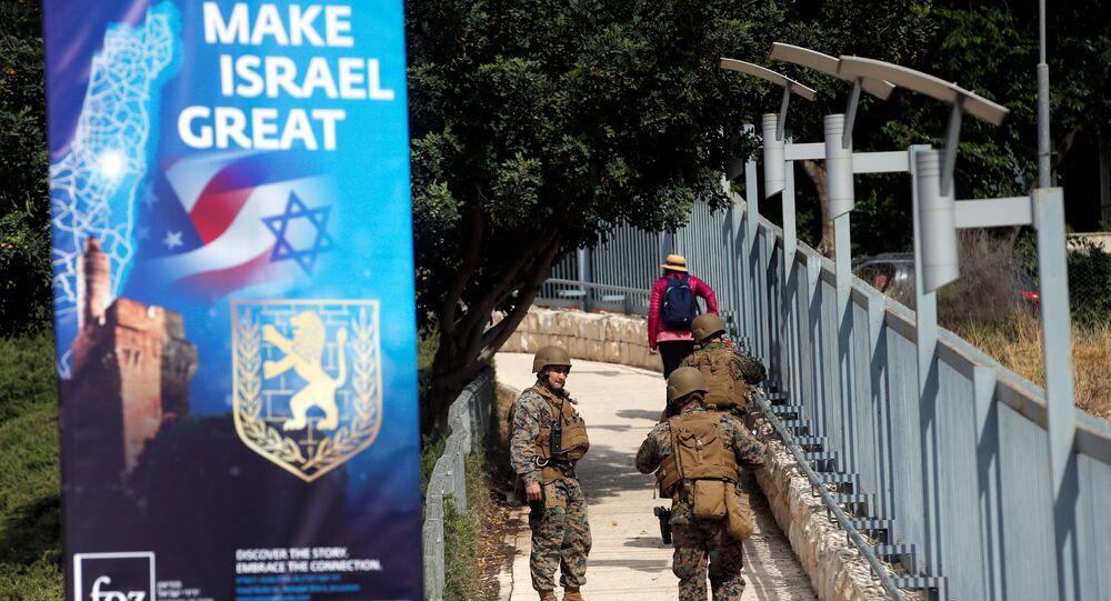 Militares cerca de la embajada de EEUU en Jerusalén