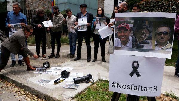 Una protesta por el asesinato de los periodistas en la frontera entre Ecuador y Colombia - Sputnik Mundo