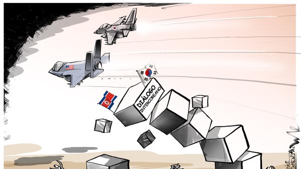 ¡Enhorabuena, Trump! Crisis entre las dos Coreas por unos ejercicios de Washington y Seúl - Sputnik Mundo