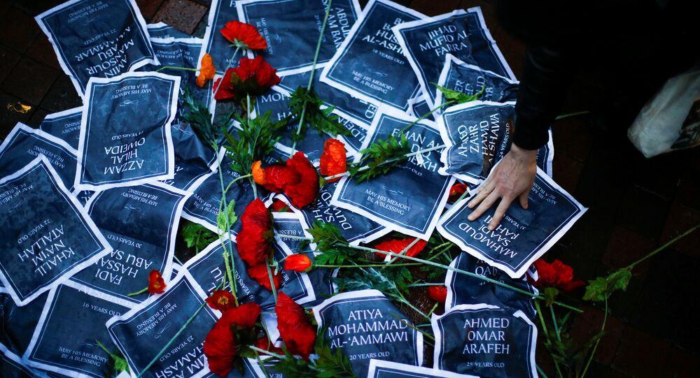 Un memorial improvisado dedicado a las víctimas de los enfrentamientos en Gaza