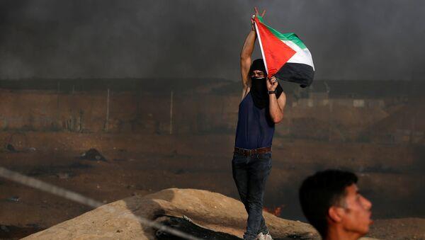 Un manifestante con la bandera de Palestina - Sputnik Mundo