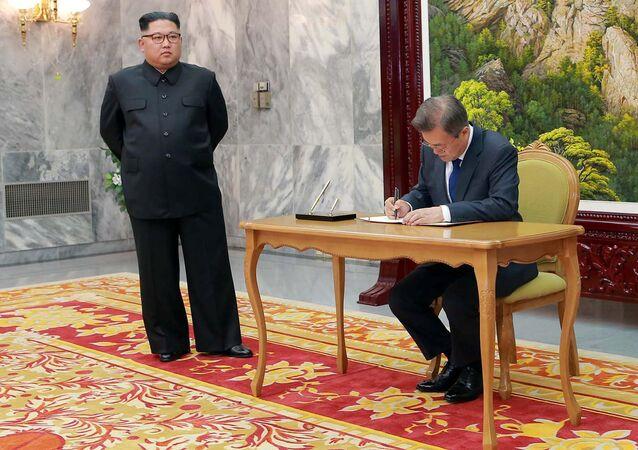 Reunión entre el presidente de Corea del Sur, Moon Jae-in, y el líder de Corea del Norte, Kim Jong-un