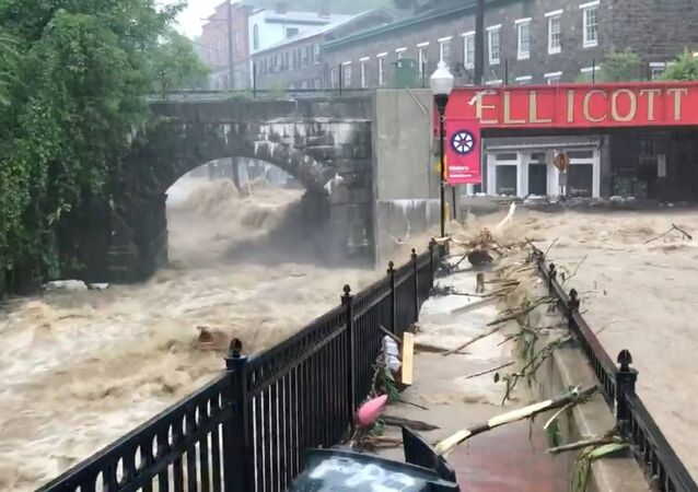 Flooding is seen in Ellicott City, Maryland, U.S. May 27, 2018, in this still image from video from social media.