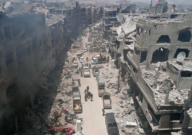 Las ruinas de los edificios en Siria