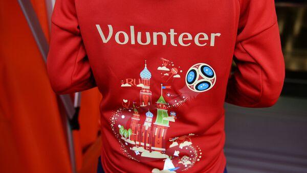 Un voluntario del Mundial de Rusia (archivo) - Sputnik Mundo