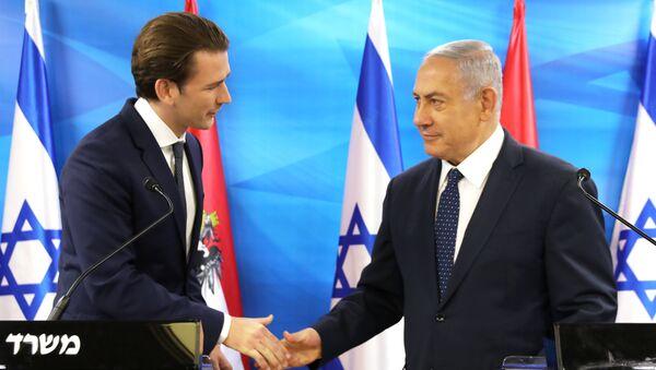 El canciller austriaco, Sebastian Kurz, con  el primer ministro israelí, Benjamín Netanyahu - Sputnik Mundo