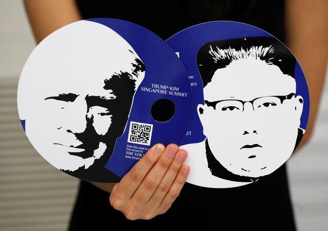 Imágenes de Donald Trump y Kim Jong-un
