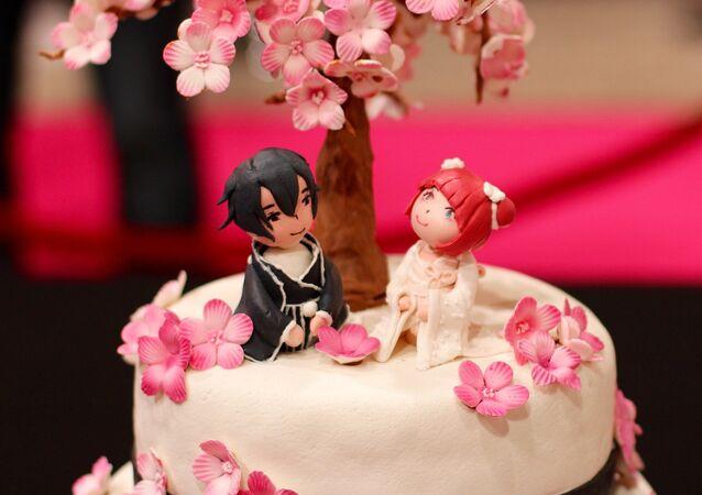 Un pastél de bodas con muñecas japoneses (imagen referencial)