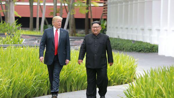 El presidente de EEUU, Donald Trump y el líder norcoreano Kim Jong-un (archivo) - Sputnik Mundo