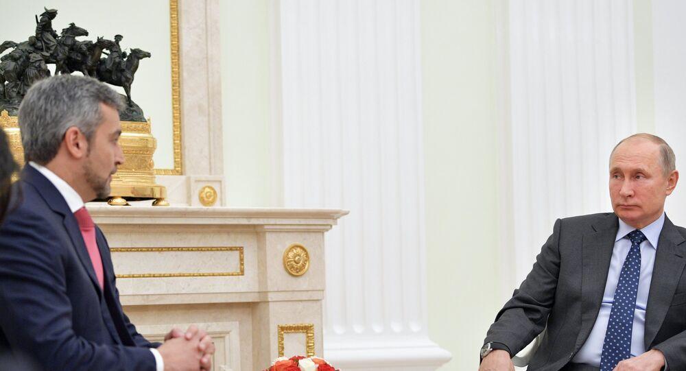 El presidente electo de Paraguay, Mario Abdo Benítez, y el presidente de Rusia, Vladímir Putin