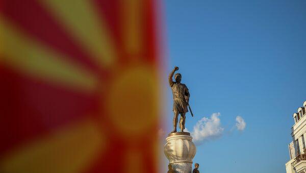 Bandera de Macedonia en Skopje - Sputnik Mundo