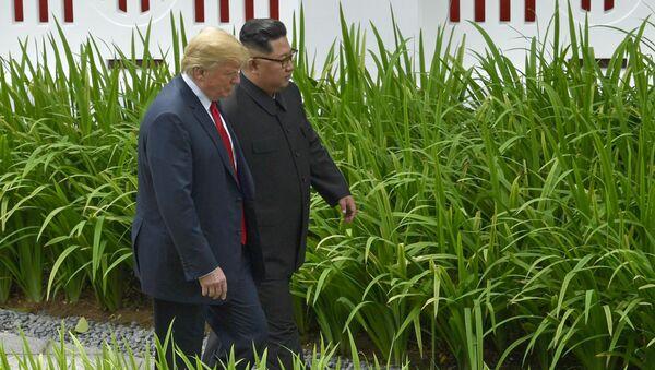 El líder norcoreano Kim Jong-un y el presidente de EEUU, Donald Trump - Sputnik Mundo
