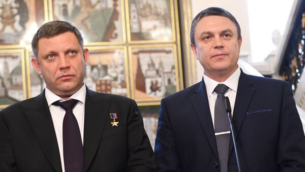 Líder de la autoproclamada República Popular de Donetsk, Alexandr Zajárchenko, y jefe en funciones de la autoproclamada República Popular de Lugansk, Leonid Pásechnik - Sputnik Mundo