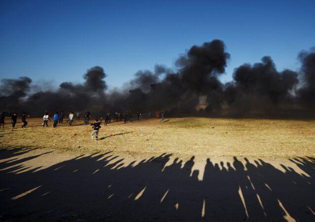 Protestas de los palestinos de Gaza en la frontera con Israel (archivo)