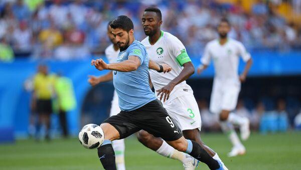 Luis Suárez, delantero uruguayo, durante el partido de su selección contra Arabia Saudí - Sputnik Mundo