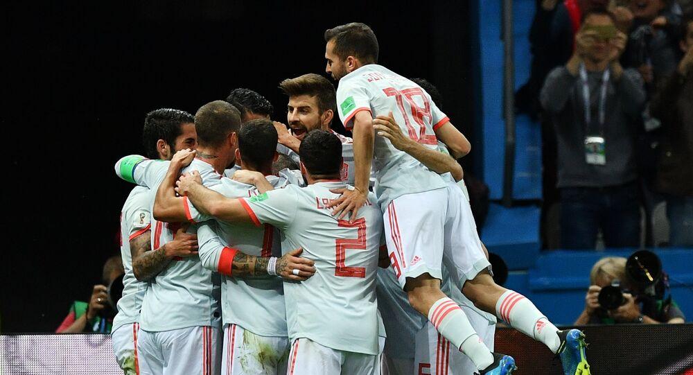Jugadores de España celebran su gol en el partido contra Irán en la fase de grupos del Mundial de Rusia