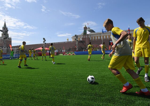 El parque en la Plaza Roja de Moscú