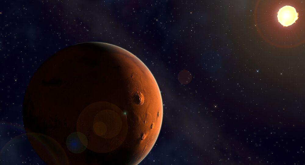 Marte y el Sol, imagen referencial