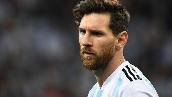 Lionel Messi, delantero argentino, durante el partido entre Argentina y Croacia - Sputnik Mundo