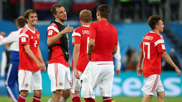 Los jugadores de la selección rusa tras su victoria ante Egipto - Sputnik Mundo
