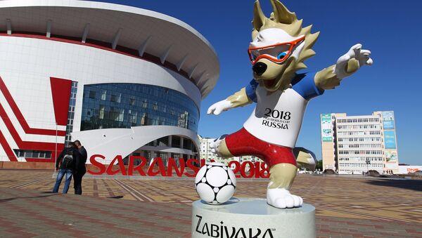 El lobo Zabivaka en Saransk - Sputnik Mundo