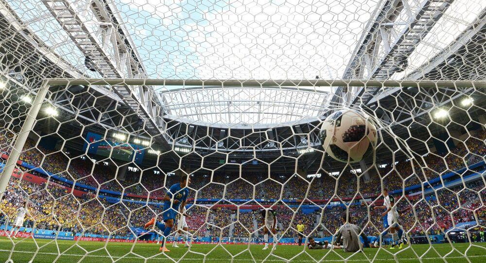 Un gol durante el partido en el Mundial en Rusia