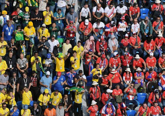 Los hinchas en el partido Brasil-Costa-Rica en San Petersburgo