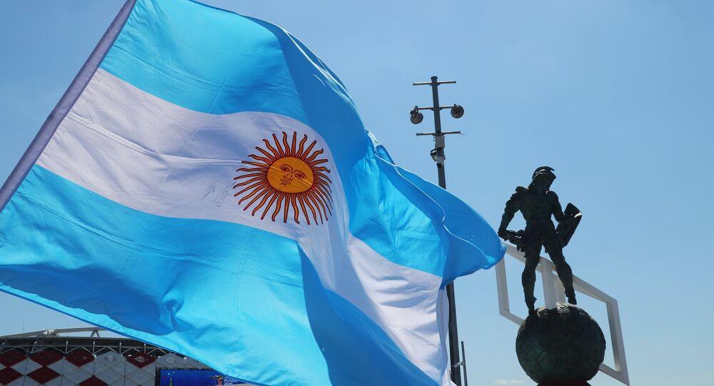 Bandera de Argentina en Moscú