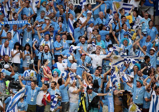 Hinchas uruguayos durante un partido del Mundial de Rusia 2018