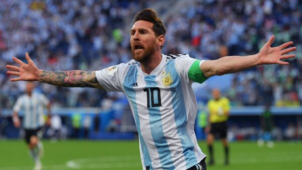 Lionel Messi celebra su primer gol en el Mundial de Rusia - Sputnik Mundo