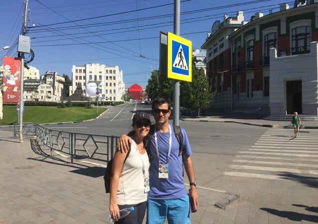 Jorge y Silvia, hinchas uruguayos