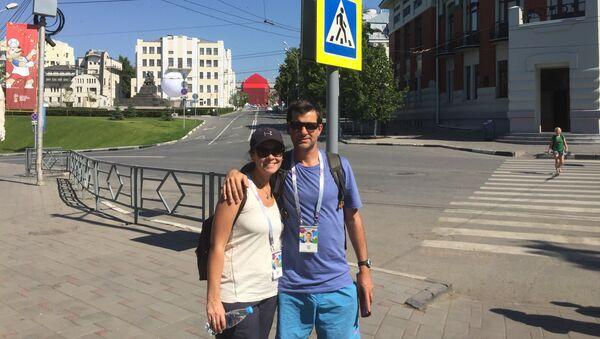 Jorge y Silvia, hinchas uruguayos - Sputnik Mundo