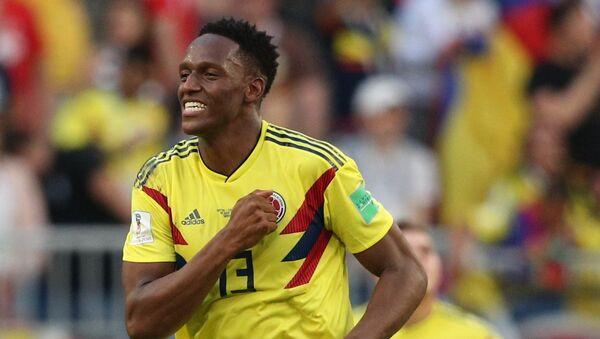 El colombiano Yerry Mina celebra su gol en el partido contra Senegal - Sputnik Mundo