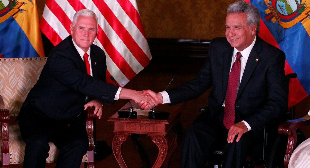 El vicepresidente de EEUU, Mike Pence y el presidente de Ecuador, Lenin Moreno