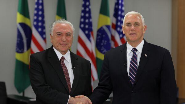 El presidente de Brasil, Michel Temer, y el vicepresidente de EEUU, Mike Pence - Sputnik Mundo