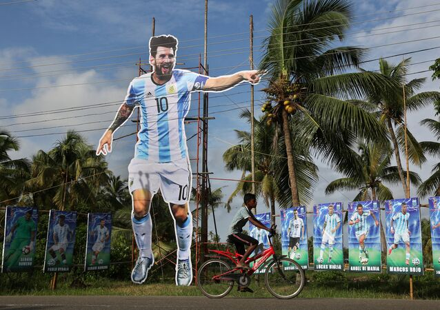 Gigantografía de Messi en la India