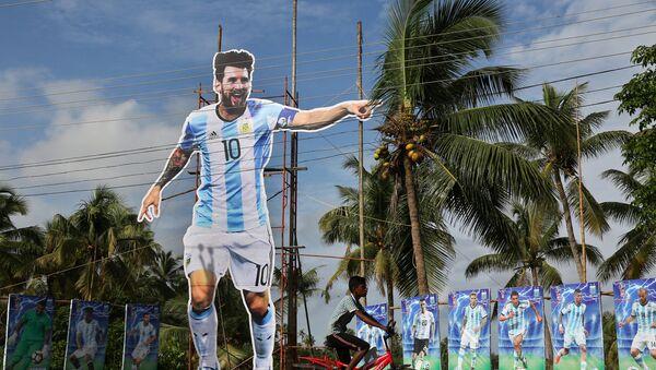Gigantografía de Messi en la India - Sputnik Mundo