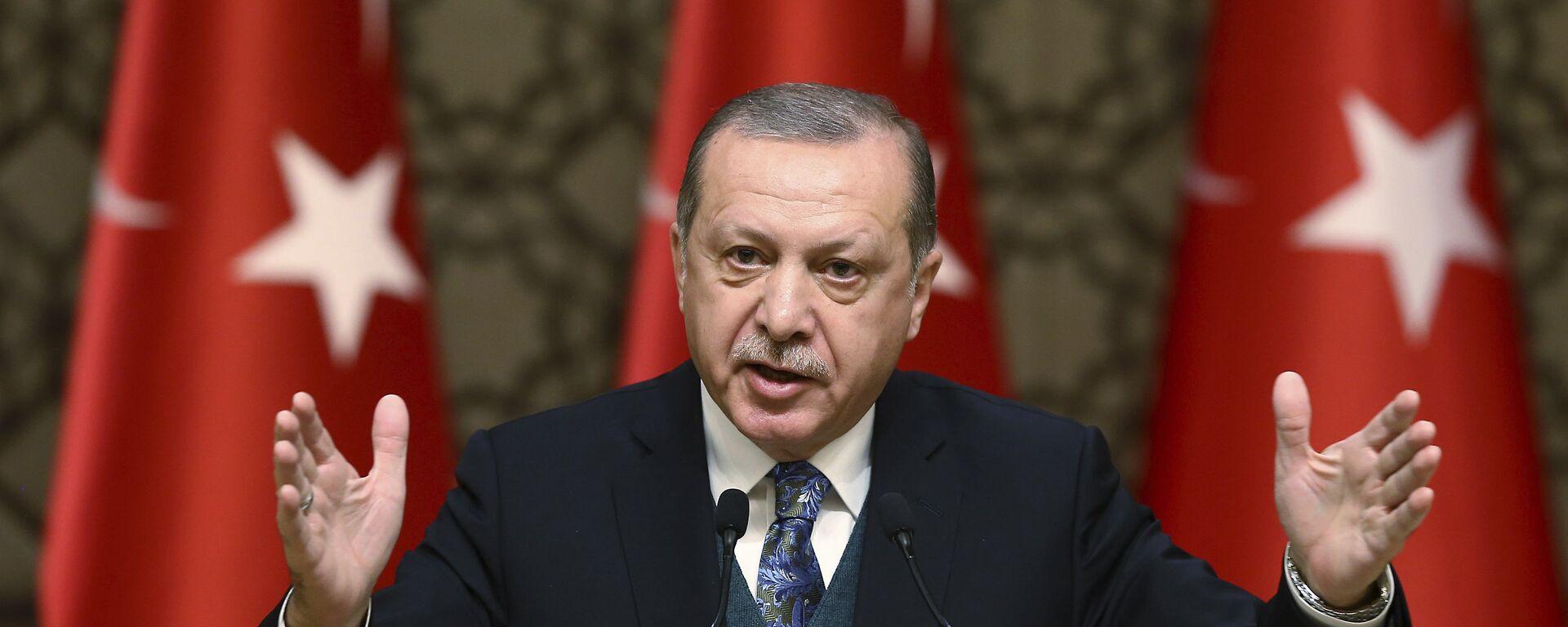 El presidente de Turquía, Recep Tayyip Erdogan, habla durante una ceremonia de premios culturales en Ankara, Turquía - Sputnik Mundo, 1920, 16.07.2020