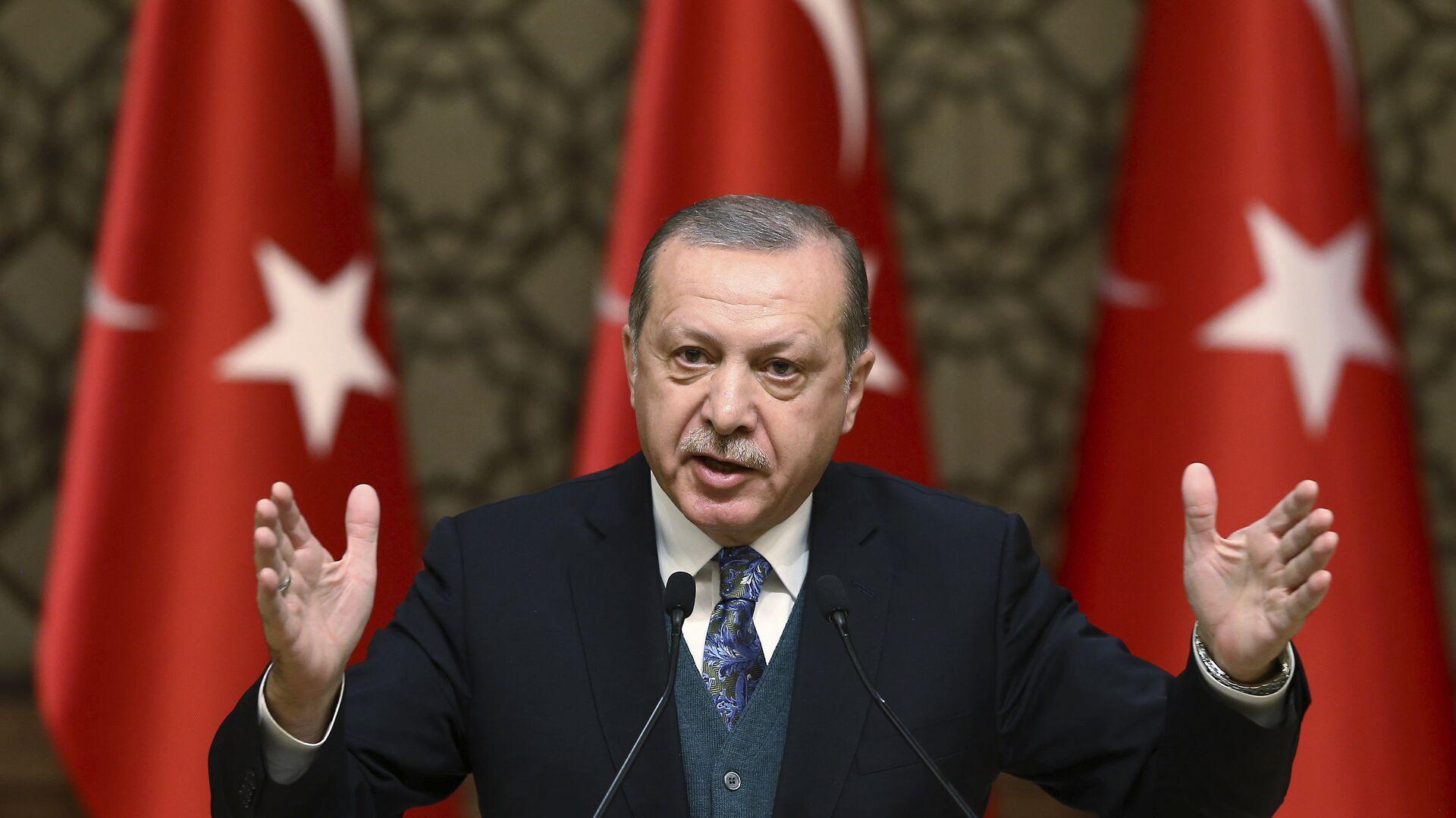 El presidente de Turquía, Recep Tayyip Erdogan, habla durante una ceremonia de premios culturales en Ankara, Turquía - Sputnik Mundo, 1920, 12.05.2021