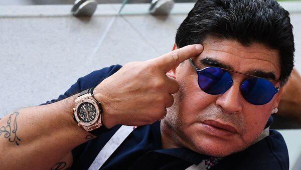 Diego Maradona durante el Mundial 2018 - Sputnik Mundo