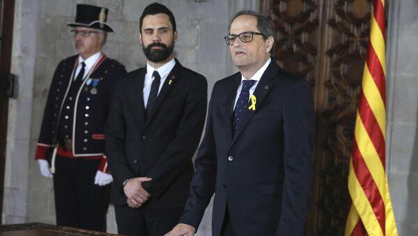 El Presidente del Parlamento catalán, Roger Torrent y El presidente de la Generalitat (Ejecutivo catalán), Quim Torra - Sputnik Mundo